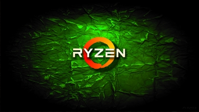 4K HD AMD Ryzen green crumple wallpaper background