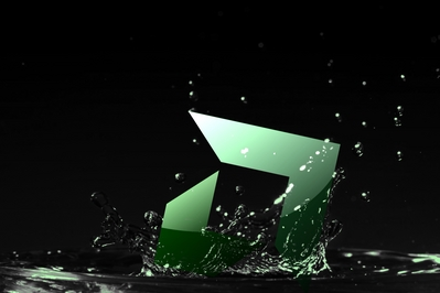 High def AMD background of green water drops with AMD up Arrow.