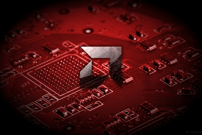 High def desktop background featuring black AMD logo on red PCB graphics.