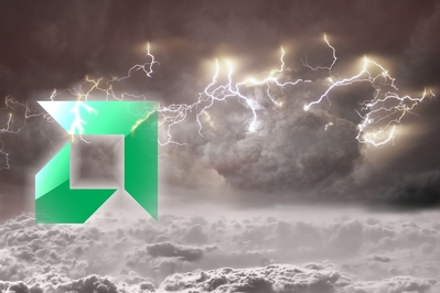 High definition wallpaper of AMD logo in a storm