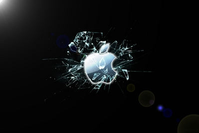 HD Apple broken glass wallpaper
