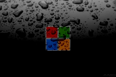 High def desktop background with Windows 8 new logo and water drops.