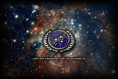 High def wallpaper of United Federation of Planets logo on a nebula.