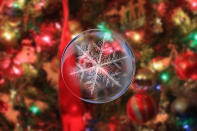 High Def background of a snowflake glass ornament with a Christmas tree.