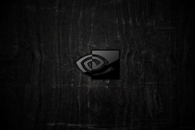 High def wallpaper of nVidia logo on dark wood.