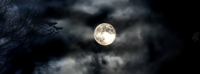 High def Facebook Cover of moon on clouds with bats